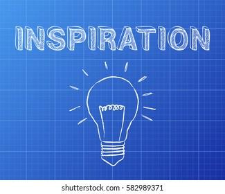 Hand drawn Inspiration sign and lightbulb on blueprint background