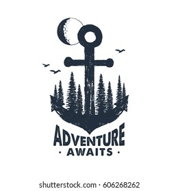 """Hand drawn inspirational badge with textured forest on anchor vector illustration and """"Adventure awaits"""" lettering."""