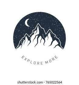 """Hand drawn inspirational label with mountains and night sky textured vector illustrations and """"Explore more"""" lettering."""
