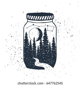 Hand drawn inspirational label with textured forest in a jar vector illustration.