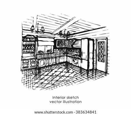 Hand Drawn Interior Sketch Home Design Stock Vector Royalty Free