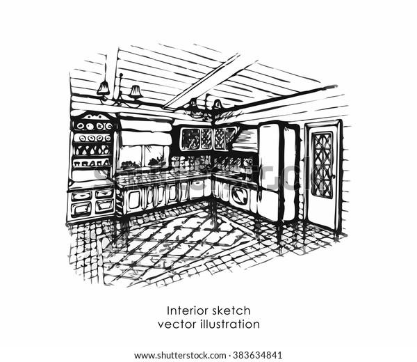Hand Drawn Interior Sketch Home Design Stock Vector Royalty