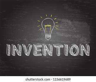 Hand drawn invention sign and light bulb on blackboard
