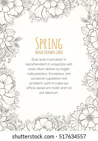 Hand drawn invitation card. Vector illustration of retro flowers on light background can be used for invitation, banner template, card, flyer, sale, website, menu, cover