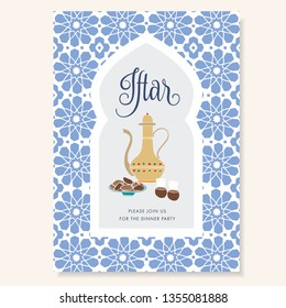 Hand drawn invitation for iftar dinner with teapot, tea cups, date fruit plate. Blue ornamental Moroccan pattern, arabic window. Greeting card for muslim holiday Ramadan Kareem.Vector  background.