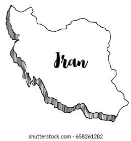 Hand drawn of Iran map, vector illustration