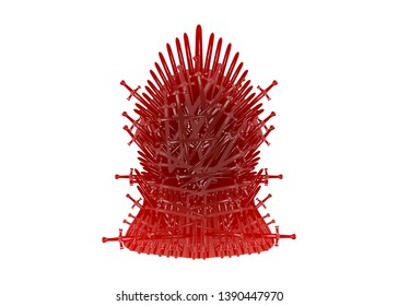 Hand drawn iron throne of Westeros made of antique swords or metal blades. Ceremonial chair built of weapon isolated on white background. Beautiful fantasy design element. Thrones Vector illustration