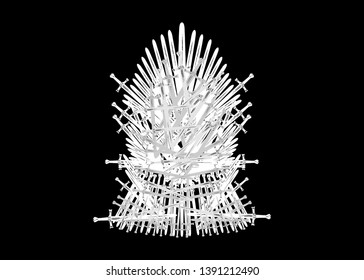 Hand drawn iron throne of Westeros made of antique swords or metal blades. Ceremonial chair built of weapon isolated on black background. Beautiful fantasy design element. Thrones Vector illustration