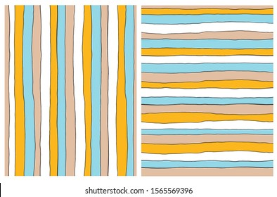 Hand Drawn Irregular Geometric Vector Patterns.Horizontal and Vertical Blue, Gray and Yellow Stripes Isolated on a White Background. Cute Infantile Style Repeatable Design.Simple Striped Vector Print.