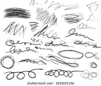 Hand Drawn Irregular Pen Scribble Design Element Vector Set.  Scribble Design Element .