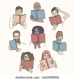 Hand drawn isolated diverse people reading books