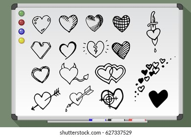 Hand drawn isolated hearts set on whiteboard. Vector heart stock illustration