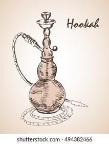 Hand drawn isolated hookah bottle. Isolated on white background