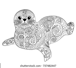 Hand drawn isolated illustration of a baby seal in the zentangle style. Adult coloring page with cute belek. Vector illustration.