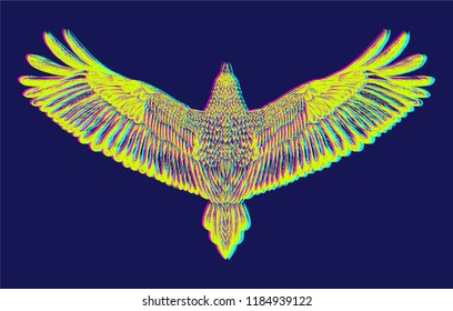 Hand drawn isolated mascot with glitch effect.Printed tee for t shirt.Vector isolated.Back of eagle.3 d effect.Symbol of freedom.Colorful flying bird.Ilustration with chromatic aberration.