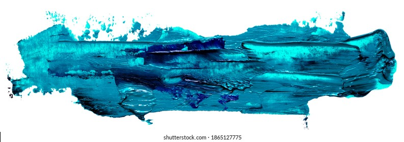 Hand drawn isolated oil paintbrush long rectangular stripe template with deep dirty turquoise color esp 10 vector illustration for your text atop.