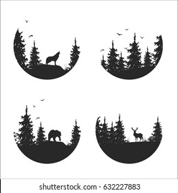 hand drawn isolated set of landscape icon, mountains, moon, pine and spruce forest and woodland animals: wolf, deer, bear