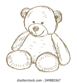 Hand drawn isolated Teddy bear. Doodle vector illustration