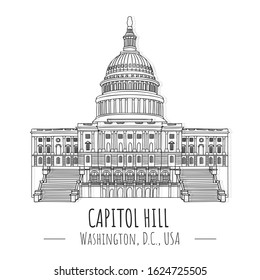 Hand drawn isolated vector illustration  famous landmark of capitol hill, Washington, D.C., USA, Business Travel and Tourism Concept