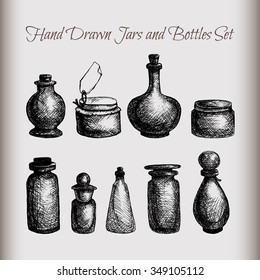 Hand drawn isolated vintage glass jars and bottles set. Containers for jams, food, attar, essential oil, oils, liquid, perfume. Vector