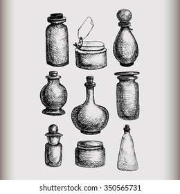 Hand drawn isolated vintage glass jars and bottles set. Containers for jams, food, attar, otto, essential oil, oils, liquid, perfume. Vector