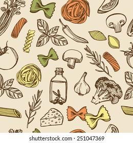 Hand drawn Italian pasta seamless pattern. Colorful pasta, cheese, broccoli, garlic, chili pepper, rosemary, celery, olive oil, basil, champignon, tomato