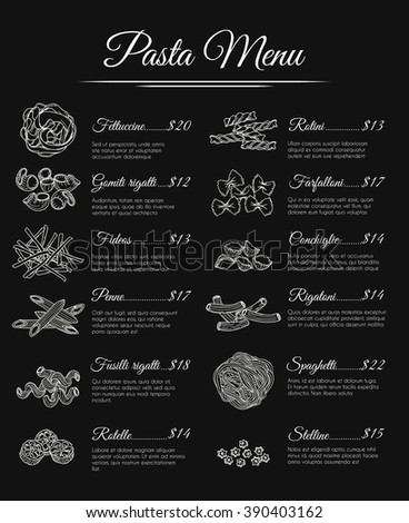 hand drawn italian restaurant pasta menu stock vector royalty free
