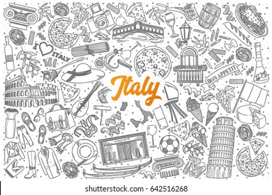 Hand drawn Italy doodle set background with orange lettering in vector