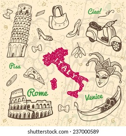 Hand drawn Italy symbols and landmarks set. Travel collection.