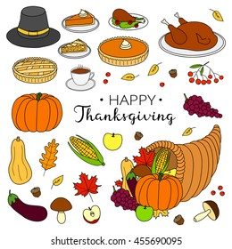 Hand drawn items for thanksgiving day celebration isolated on white background.