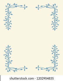 hand drawn ivy vine corner design element in blue on yellow background, floral leaves border vector design