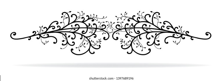 hand drawn ivy vine leaves with curls swirls and flourishes isolated on white background in a symmetrical fancy vector design, wedding or document underline or divider design element