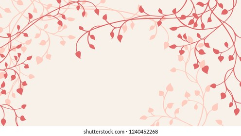 hand drawn ivy and vines in pink and red on a pale yellow background in a pretty outline of leaves creeping around the border in a floral nature vector pattern