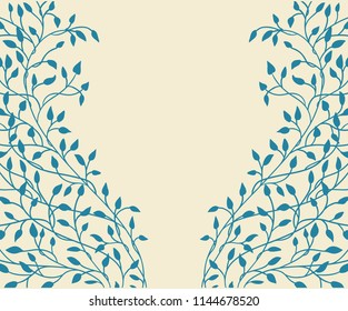 hand drawn ivy and vines in yellow on a blue background in a pretty entwining tangle of leaves climbing up the side borders in a floral nature vector pattern