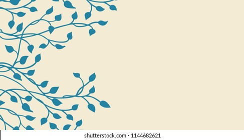 hand drawn ivy and vines in yellow on a blue background in a pretty outline of leaves climbing up the side border in a floral nature vector pattern