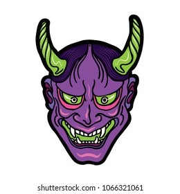 Hand drawn Japanese hannya demon neon purple and green theatre betrayed woman mask with eyes and mouth wide open, sharp teeth and dark hair. Vector isolated illustration on a light background.