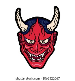Hand drawn Japanese hannya demon red theatre betrayed woman mask with eyes and mouth wide open, sharp teeth and dark hair. Vector isolated illustration on a light background.