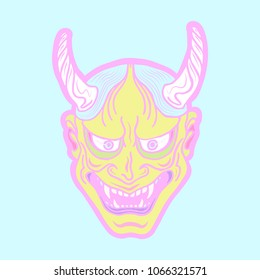 Hand drawn Japanese hannya demon bright pastel theatre betrayed woman mask with eyes and mouth wide open, sharp teeth and light blue hair. Vector isolated illustration in pink on a blue background.