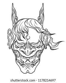 hand drawn Japanese Hanya mask isolate vector.Line art Japanese demon mask design for tattoo.