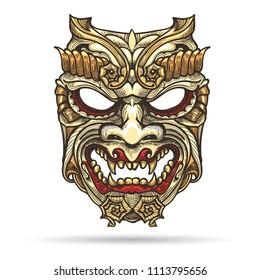 Hand drawn Japanese Samurai Demon Mask. Vector illustration.