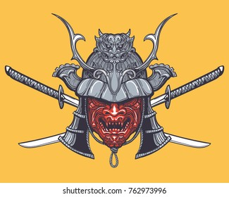 Hand drawn Japanese samurai mask with two crossed swords. Vector illustration in tattoo style.