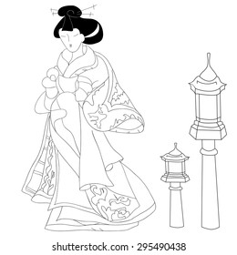 Hand drawn Japanese woman wears traditional japanese kimono and traditional japanese lantern, black and white. Can be used for decorating of invitations, greeting cards, coloring book.