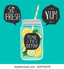 Hand drawn  jar with detox water lemon slices, cucumber, speech bubbles with handwritten lettering