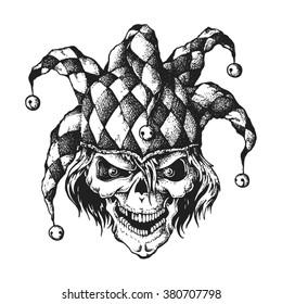 Hand drawn jester skull wearing fools cap wit bells. Vector illustration