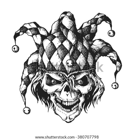 Hand Drawn Jester Skull Wearing Fools Stock Vector