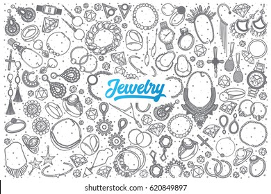 Hand drawn Jewelry doodle set background with blue lettering in vector