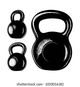 Hand drawn kettlebell illustrations set. Different view kettlebell vector icons.
