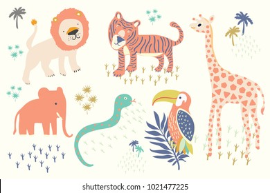 Hand drawn of kid illustration features tiger,lion,hornbills bird,giraffe,elephant,snake,tropical palms isolated on white background.