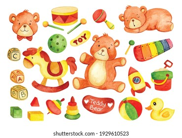 hand drawn kid toys teddy bear in watercolor style vector illustration