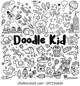 hand drawn kids doodle set,Doodle style,Vector Illustration